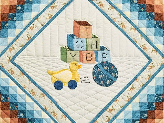 Pastel Blue ABC Crib Quilt Photo 2