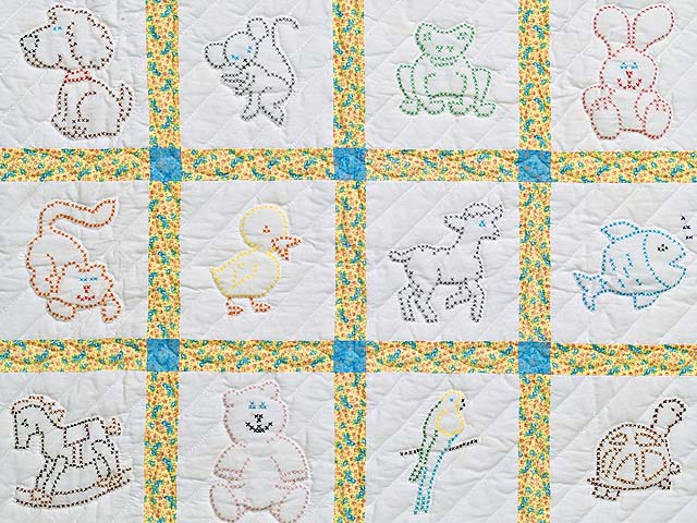 Blue and Yellow Cross Stitch Animals Crib Quilt Photo 2