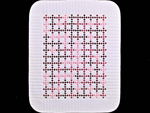 Pink Burgundy and Cream Nine Patch Crib Quilt Photo 1
