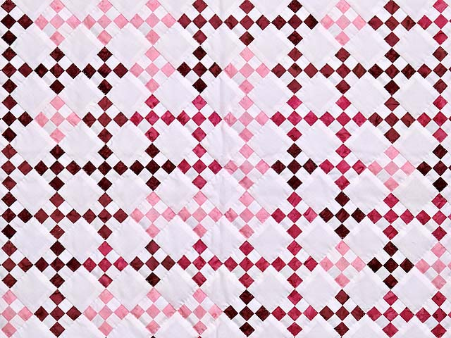 Pink Burgundy and Cream Nine Patch Crib Quilt Photo 2