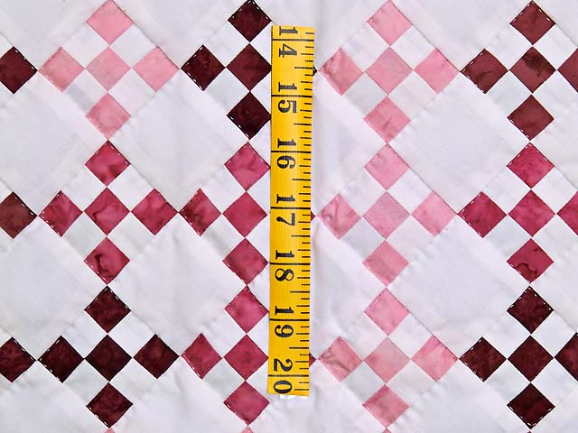 Pink Burgundy and Cream Nine Patch Crib Quilt Photo 3