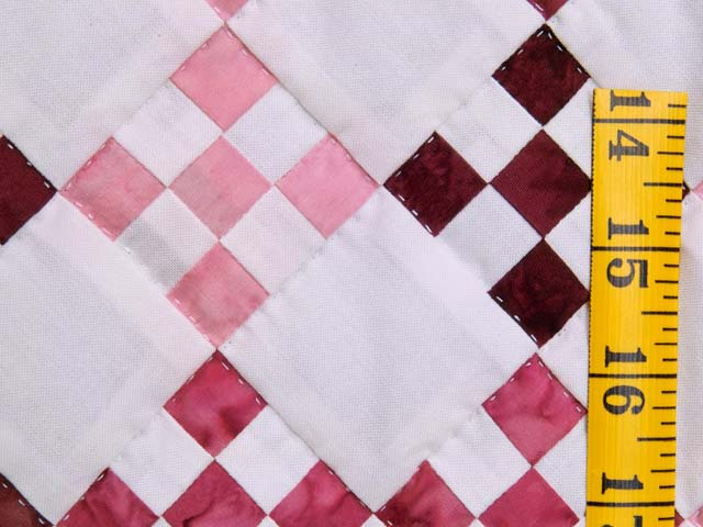Pink Burgundy and Cream Nine Patch Crib Quilt Photo 4