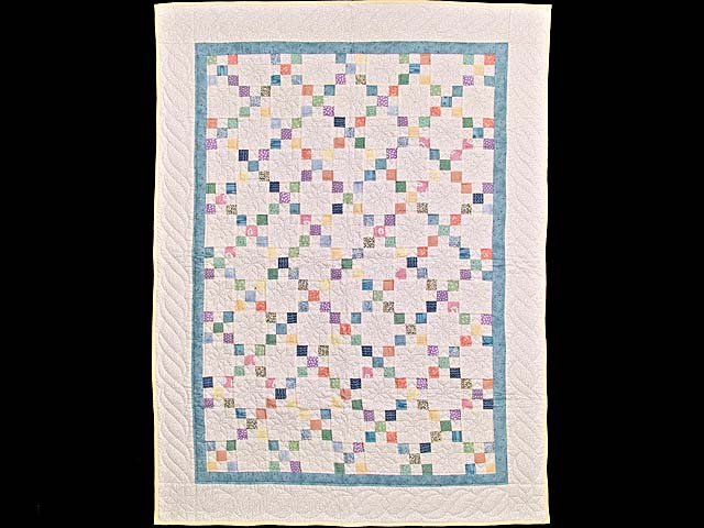 Baby Blue and Multicolor Nine Patch Crib Quilt Photo 1