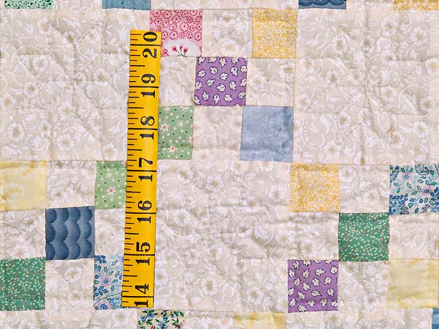 Baby Blue and Multicolor Nine Patch Crib Quilt Photo 3