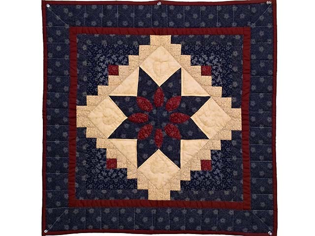 Navy and Burgundy Dahlia Star Log Cabin Wall Hanging Photo 1