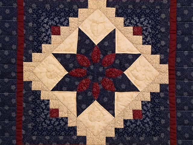 Navy and Burgundy Dahlia Star Log Cabin Wall Hanging Photo 2