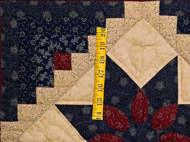 Navy and Burgundy Dahlia Star Log Cabin Wall Hanging Photo 3