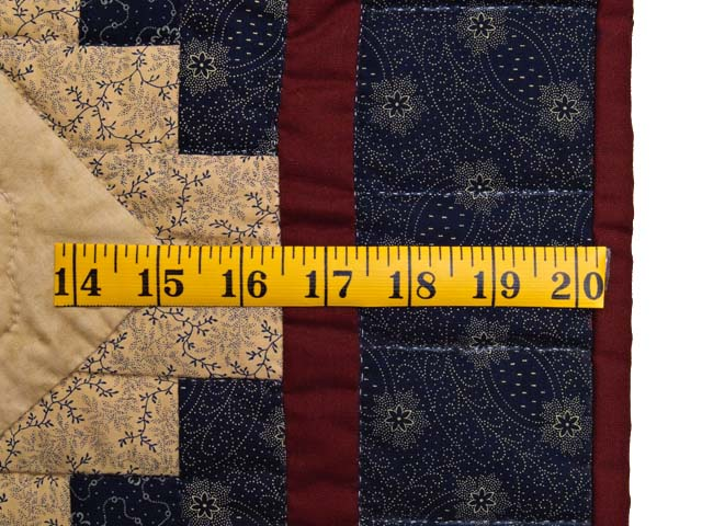 Navy and Burgundy Dahlia Star Log Cabin Wall Hanging Photo 6