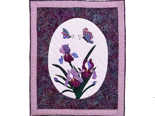 Lavender Iris Appliqué Wall Hanging Photo 1