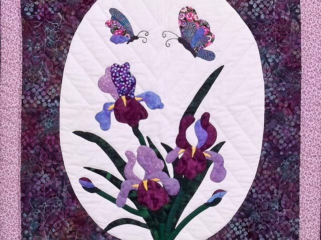 Lavender Iris Appliqué Wall Hanging Photo 2