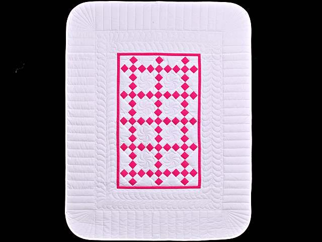Rose and Cream Nine Patch Crib Quilt Photo 1