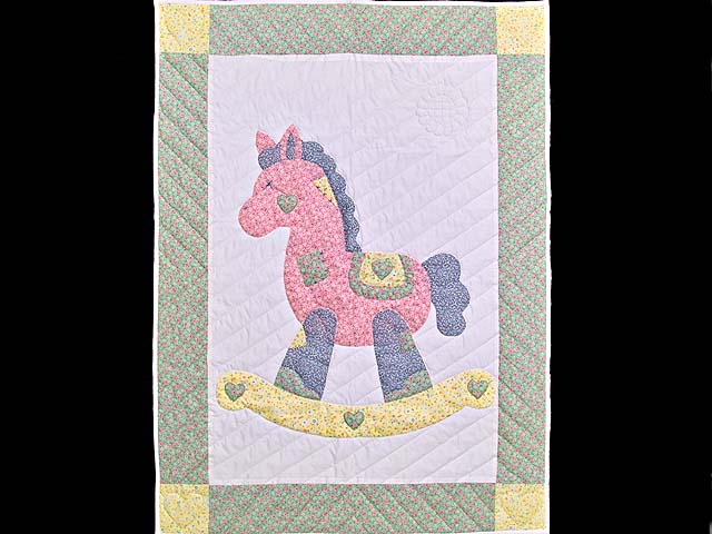 Pastel Green and Yellow Rocking Horse Crib Quilt Photo 1