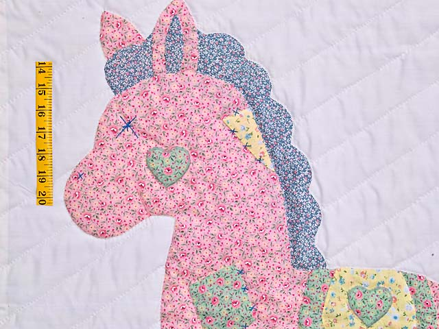 Pastel Green and Yellow Rocking Horse Crib Quilt Photo 3