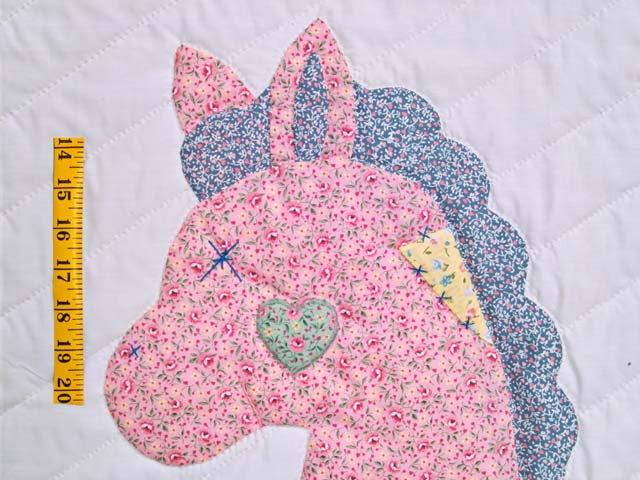 Pastel Green and Yellow Rocking Horse Crib Quilt Photo 4