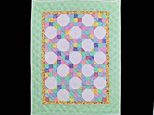 Pastel Green and Yellow Snowball Crib Quilt Photo 1