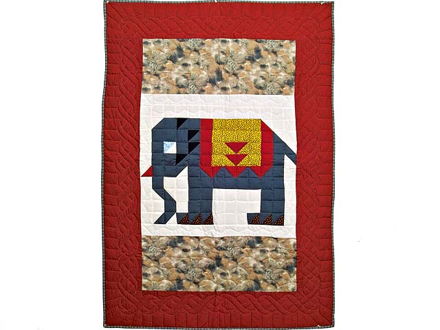 Patriotic Elephant Patchwork Wall Hanging Photo 1