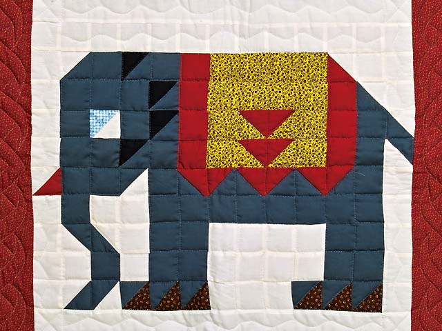 Patriotic Elephant Patchwork Wall Hanging Photo 2