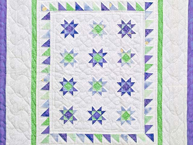 Lavender and Green Ohio Stars Wall Hanging Photo 2