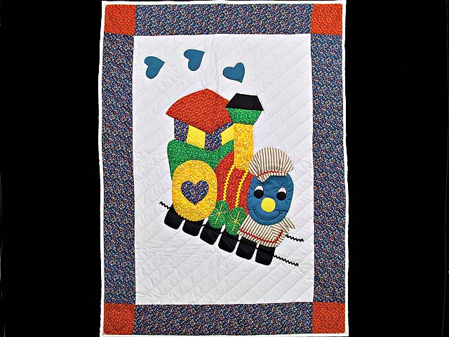 Blue and Red Thomas Train Crib Quilt Photo 1