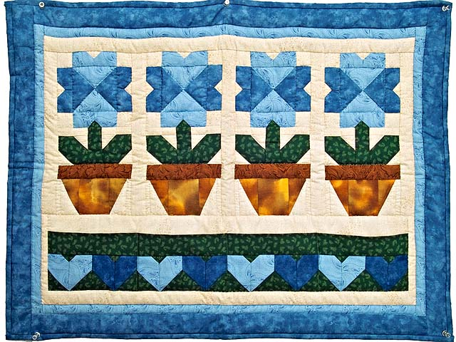 Blue Pots and Hearts Wall Hanging Photo 1