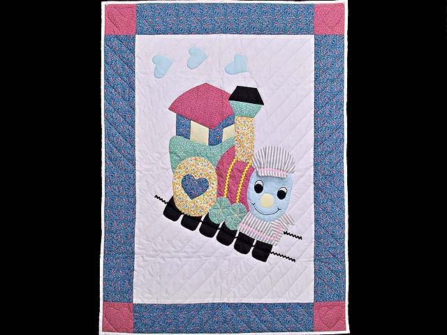 Blue and Raspberry Thomas Train Crib Quilt Photo 1