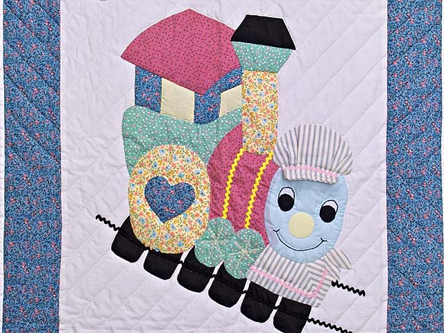 Blue and Raspberry Thomas Train Crib Quilt Photo 2