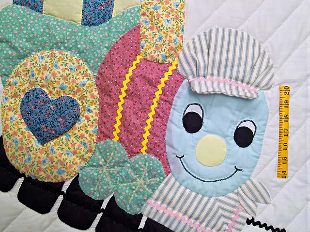 Blue and Raspberry Thomas Train Crib Quilt Photo 3