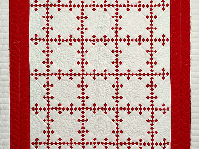 Red and White Nine Patch Throw Photo 2
