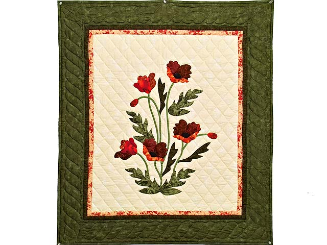 Moss Green and Crimson Poppy Fields Wall Hanging Photo 1