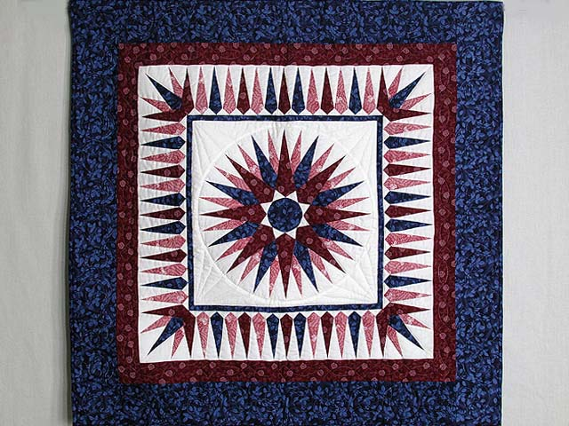 Navy and Burgundy Mariners Compass Wall Hanging Photo 1