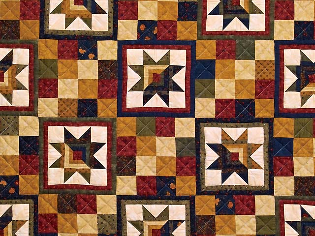 Country Colors Split Log Cabin Stars Throw Photo 2