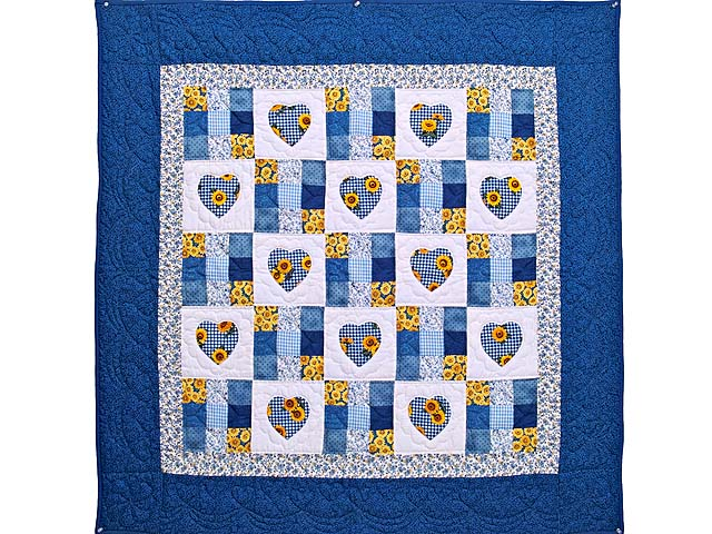 Blue and Yellow Hearts and Nine Patch Wall Hanging Photo 1