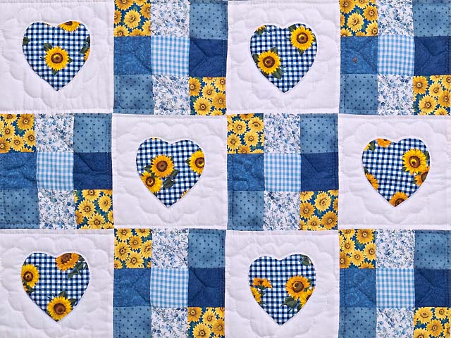 Blue and Yellow Hearts and Nine Patch Wall Hanging Photo 2