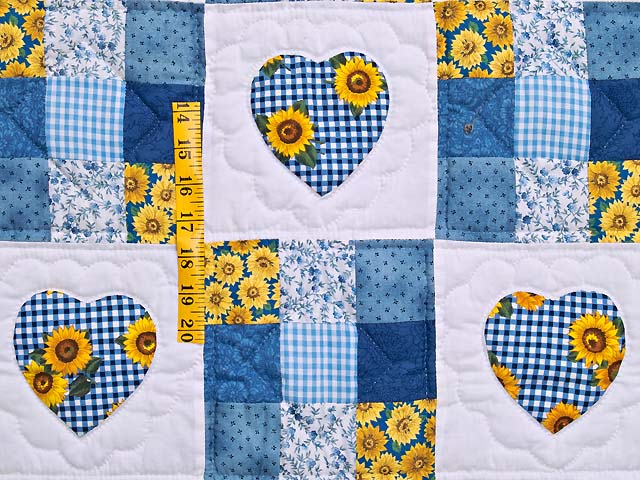 Blue and Yellow Hearts and Nine Patch Wall Hanging Photo 3