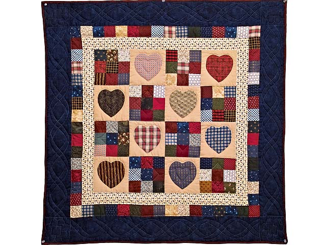 Navy and Multi Homespun Hearts and Nine Patch Wall Hanging Photo 1