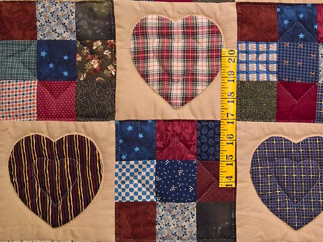 Navy and Multi Homespun Hearts and Nine Patch Wall Hanging Photo 3