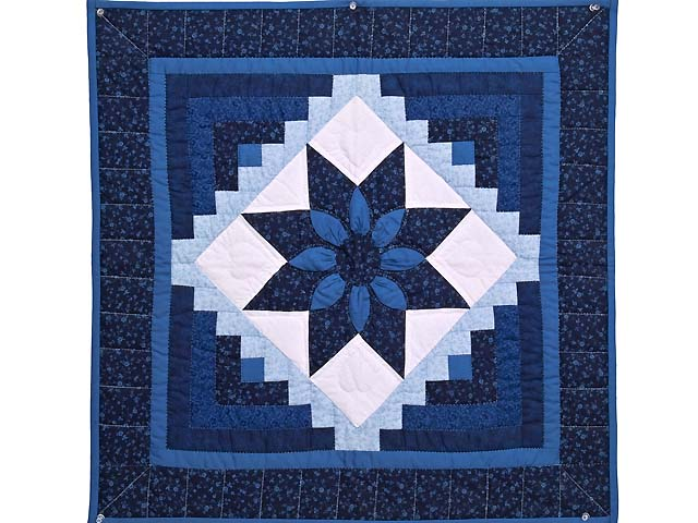 Navy and Blue Dahlia Star Log Cabin Wall Hanging Photo 1