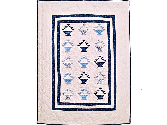 Navy Blue and Cream Baskets Crib Quilt Photo 1