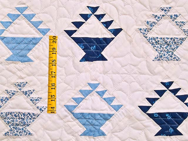 Navy Blue and Cream Baskets Crib Quilt Photo 3