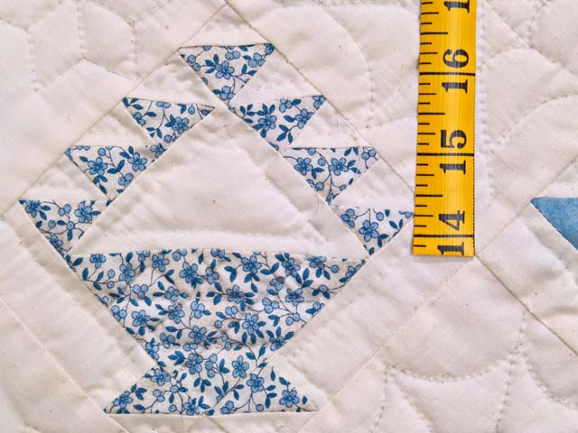 Navy Blue and Cream Baskets Crib Quilt Photo 4