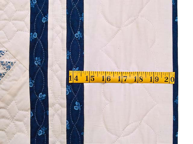 Navy Blue and Cream Baskets Crib Quilt Photo 5