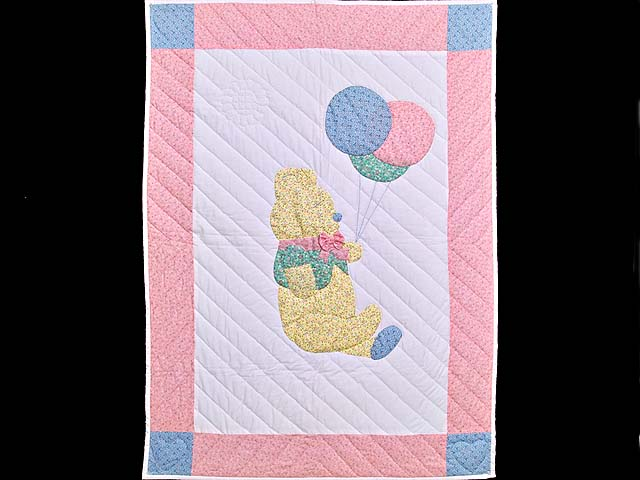 Pastel Pink Party Bear Crib Quilt Photo 1