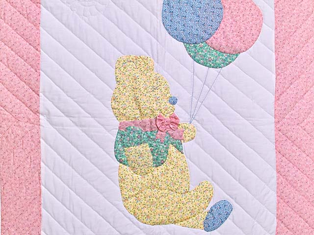 Pastel Pink Party Bear Crib Quilt Photo 2