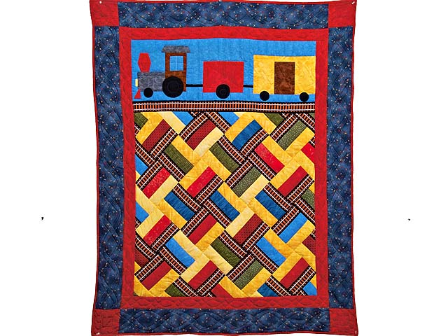 Theo Train Crib Quilt Photo 1
