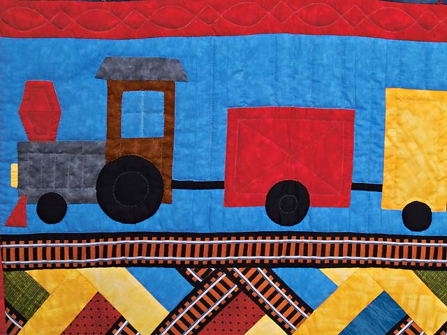 Theo Train Crib Quilt Photo 2