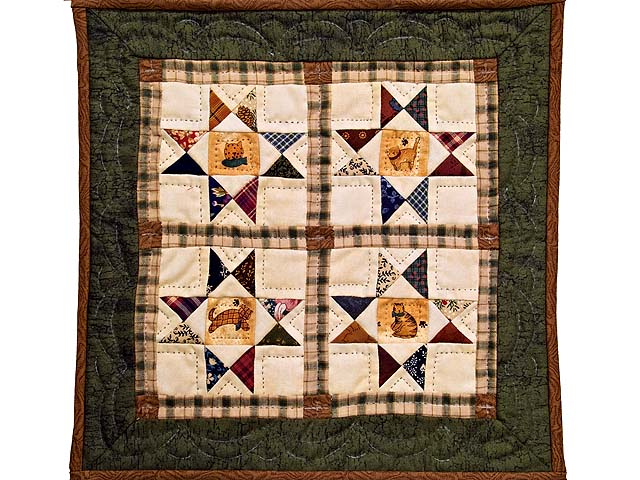 Miniature Ohio Stars with Cats Quilt Photo 1
