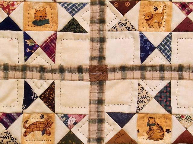 Miniature Ohio Stars with Cats Quilt Photo 3