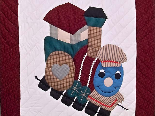 Burgundy and Navy Plaid Thomas Train Crib Quilt Photo 2