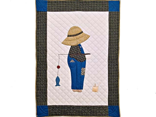 Blue and Plaid  Fisher Boy Appliqué Crib Quilt Photo 1