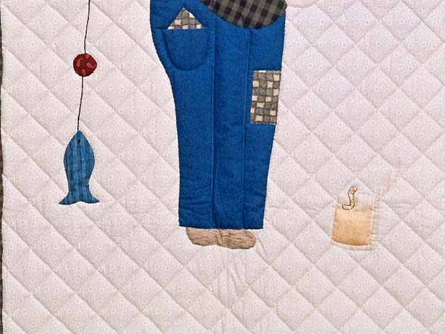 Blue and Plaid  Fisher Boy Appliqué Crib Quilt Photo 3